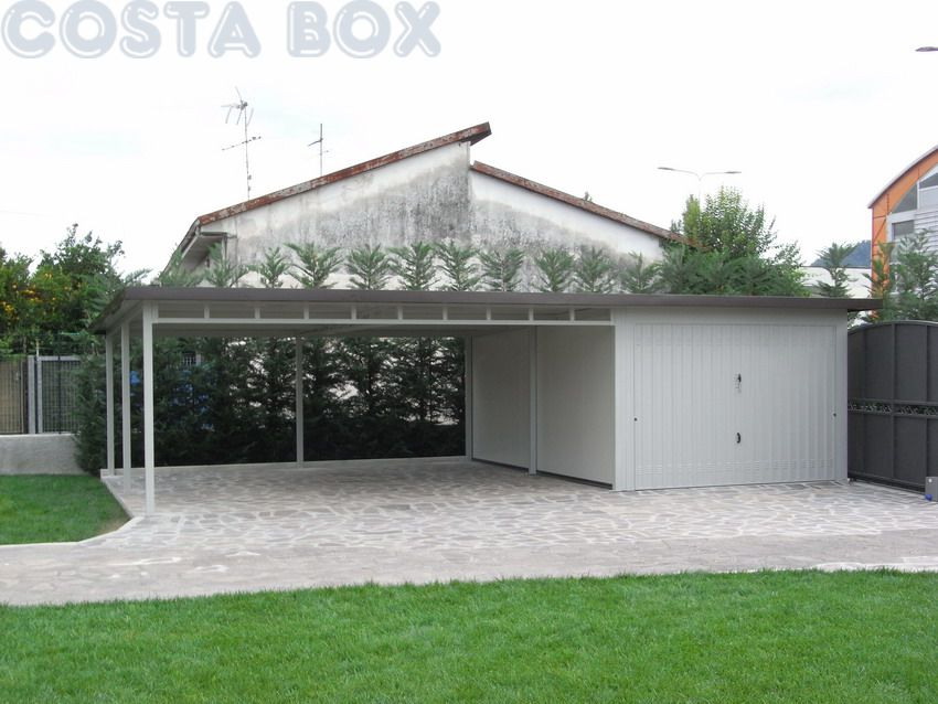 Garage coibentato con tettoia laterale costabox for Garage prefabbricato con soppalco